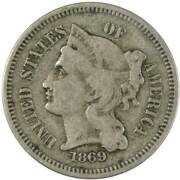 1869 Three Cent Piece Vg Very Good Nickel 3c Us Type Coin Collectible