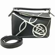 Loewe Puzzle Small 322.30xs21 Black White Women And039s Shoulder Bag Secondhand