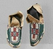 Native American Sioux Style Suede Leather Indian Beaded Cheyenne Moccasins M605