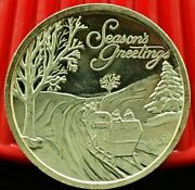 1998 Seasons Greetings .999 Fine Silver Art Round Sleigh In The Snow