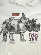 Menand039s Vintage T-shirt Size Xl Pearl Jam Music For Rhinos Bandand039s T White Rare