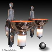 Pair Moe Brothers Machine Age Art Deco Torchiere Sconce Lights C.1932 - Restored