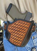 Leather Pancake Holster Glock G43 9mm Ruff's Black And Tan