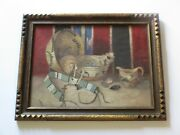 Incredible Antique Art Deco Wood Frame Painting Native American Indian Rug Pots