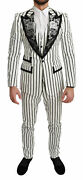 Dolce Andamp Gabbana Black Striped Floral 3 Piece White Suit
