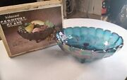 Vintage Indiana Carnival Glass Blue Iridescent Oval Center Bowl 2211