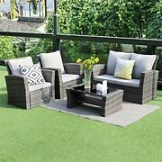 Wisteria Lane 5 Piece Outdoor Patio Furniture Sets, Wicker Ratten Sectional Sof