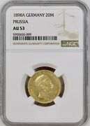1898 A Germany 20 Marks Prussia Gold Coin Ngc Au 53