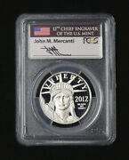 2012-w 100 Pcgs Pr-70 Deep Cameo Mercanti Signed Flag Label Statue Of Liberty