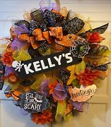 """Personalized Halloween """"eat, Drink And Be Scary"""" Wreath Door Wall Hanging 20"""" Wide"""