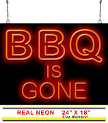 Bbq Is Gone Neon Sign | Jantec | 24 X 18 | Barbeque Steakhouse Neon Light Bar
