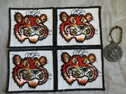 Lot Of 5 Enco - Esso Tiger Patches 3andrdquo X 3 1/2andrdquo And Enco Key Ring Happy Motoring