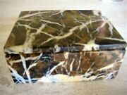 Italian Marble Box Unusual Collectible Black And Gold Color Older Item