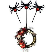 Hollo Star Halloween Decorations Furry Hairy Spider Stake And Skeleton Wreath