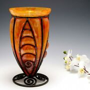 A Verreries Dand039art Lorraine Glass With Wrought Iron Frame C1925