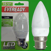 12x 4w Eveready Led Ultra Low Energy, Instant On Candle Light Bulb, Bc B22 Lamp