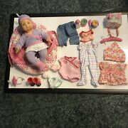 American Girl Bitty Baby Doll, Bassinet, Tote,clothes, And Accessories