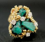 18k Gold Nugget 5ct Chatham Emerald And Diamond Statement Ring, Sz 6, 20.4 Grams