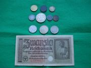 10 Different Nazi Coins + Note 1-50 Pfennig Silver 1 2 And 5 Mark