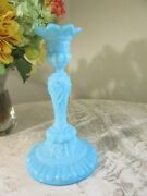 Portieux Vallerysthal Glass Candlestick. Chimere. Blue Opaline