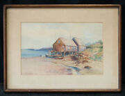 Rhode Island Listed Artist Mabel May Woodward 1877 - 1945 Watercolor Cabin
