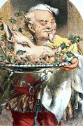 Christmas Dinner 1855 Chef Bringing In Boars Head White Haired Cook Food Print