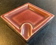 Vintage Purse Personal Ceramic Ashtray Hand Painted Made In Japan Burgundy