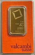 Valcambi Suisse 1 Oz Gold Bar .9999 Sealed With Assay Certificate Aa803734