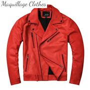 Genuin Leather Jackets Red Cowhide Motorcycle Jackets Plus Size Real Leather
