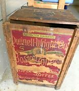 Antique Dwinell-wright Boston Coffee Wooden Box Crate Bin Advertising