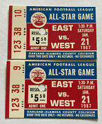 Rare Lot Of 2 Consecutive Seats 1/21/ 1967 Afl All Star Game Football Vintage