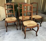 Vintage French Farm Chairs 4 Set Antique Ladder Back Dining Rush Seats Cabriole