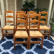 Antique French Farm Chairs Dining 6 Set Vintage Rush Seats Ladder Back Tall