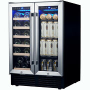 New 24'' Wine Fridge Cooler Wide Dual Zone 19 Bottles 57 Cans Stainless Steel Us