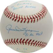 Rollie Fingers Oakland Athletics Signed Baseball With Multiple Inscs - Le 81/81