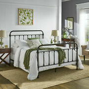 Iron Bed Frame Queen Size Farmhouse Rustic Country Style Classic Chic Victorian