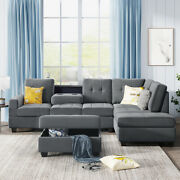 Large Storage 3 Pc Sofa Set Sectional Sofa Bed Chaise Ottoman Microfiber Sofabed
