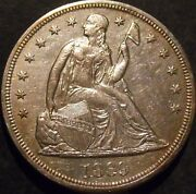 1869-p Seated Dollar Au Almost Uncirculated