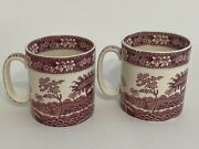 Spode England Pink Tower 3.5andrdquo Mugs Set Of 2 Discontinued Free Shipping