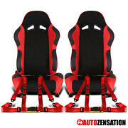 Reclinable Black Suede Pvc Leather Racing Seats+red 4-point Belts Harnesses