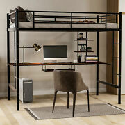 Loft Bed With Desk And Shelf , Space Saving Design,twin