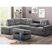 3-piece Modern Microfiber Sectional Sofa Set Storage Couches Armchairs + Ottoman