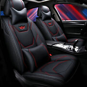 5-seats Car Seat Covers Pu Leather Front+rear Suv Cushion All Weather For Nissan
