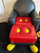 Rare Mickey Mouse Leather Chair + Ottoman Signed By Paddy Gordon