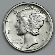 1924-d Mercury Head Dime. 40 Fully Separated Horizontal Bands. Au. 166355