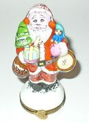 Limoges France Box Santa Claus And Toys And Christmas Tree Doll And Drum Peint Main