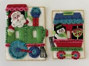 Vintage Hand Made Felt And Sequin Christmas Light Switch Plates Holiday Decor