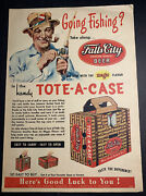 Rare 1950andrsquos Oertels 92 Beer Ad Louisville Kentucky Tote A Case Fishing Rod