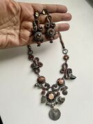 Stunning Ayala Bar Gray, Brown, Gold Necklace And Earrings Settassles,crustals