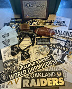 Huge Vintage Oakland Raiders Football Lot Bumper Stickers, Pins, Buttons,plaque